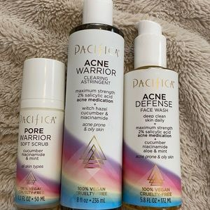 Pacifica Acne Warrior scrub, toner, cleanser